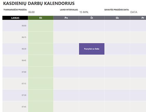 Kasdienių darbų kalendorius