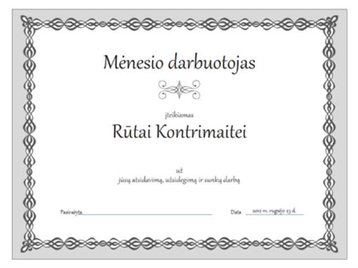 Mėnesio darbuotojo sertifikatas (pilkos grandinėlės dizainas)