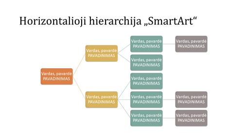 Horizontalios hierarchijos organizacijos schemos skaidrė (įvairiaspalvė baltame fone, plačiaekranė)
