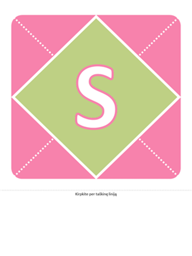 Mažylės pasveikinimo juosta (rožinė, violetinė, žalia)