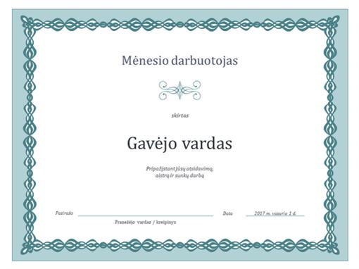 Mėnesio darbuotojo sertifikatas (mėlynos grandinės dizainas)