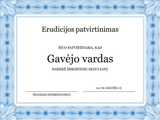 Erudicijos patvirtinimas (oficialus mėlynos spalvos kraštas)