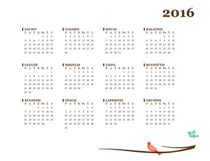 2016 m. kalendorius