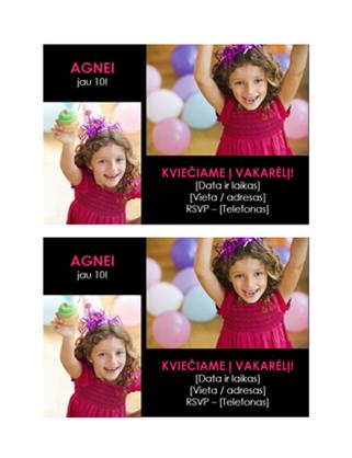 Kvietimo į gimtadienio šventę atvirukas