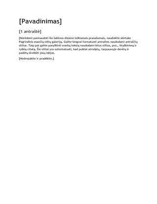 Tuščias ataskaitos dizaino šablonas