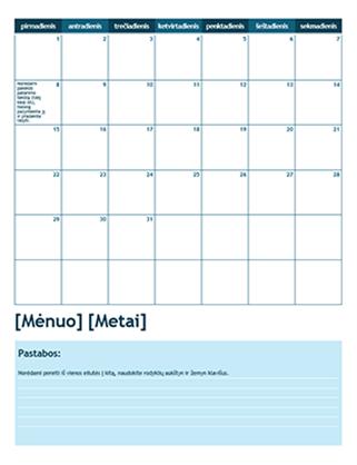 Vieno mėnesio akademinis kalendorius (pradžia – pirmadienis)