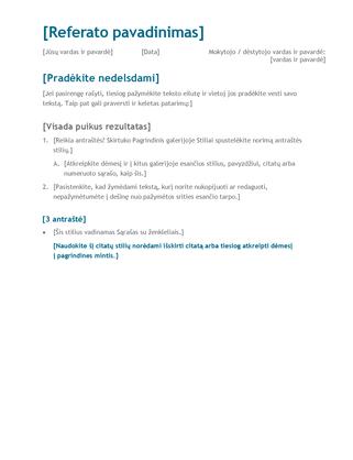 Moksleivio arba studento referatas