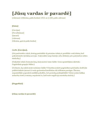 Motyvacinis laiškas, skirtas siųsti kartu su gyvenimo aprašymu (žalias)