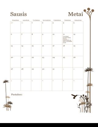 12 mėnesių kalendorius (pirmadienis–sekmadienis)
