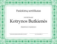 Pasiekimų sertifikatas (žalias)