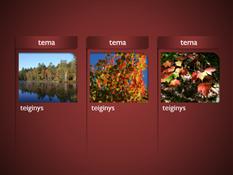 """""""SmartArt"""" grafinis elementas su paveikslėliais raudoname fone"""