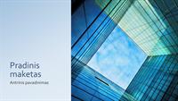 Rinkodaros pateiktis su stikliniu biuro pastatu (plačiaekranis)
