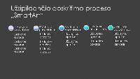 """Didėjančio apskritimo eigos """"SmartArt"""" skaidrė (pilka ir mėlyna spalvos juodame fone), plačiaekranė"""