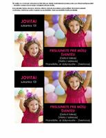 Kvietimo į gimtadienį atvirukas