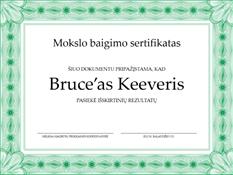 Pasiekimų sertifikatas (nustatytos formos žalios kraštinės)