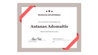 Pasiekimų sertifikatas (nustatytos formos mėlynos kraštinės)