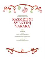 Kvietimas į vakarėlį (oficialus, papuoštas raudonais ir žaliais ornamentais)