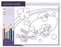 Šv. Patriko dienos spalvinimo lapas (dizainas – gnomas)