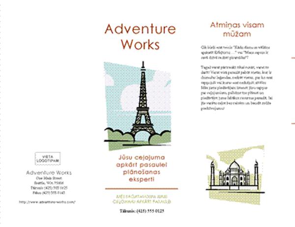 Ceļojuma brošūra (8 1/2 x 14, ainavorientācija, četrkāršs locījums)