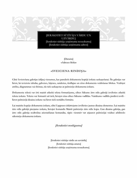 Pasta sapludināšanas vēstule (svinīgs noformējums)