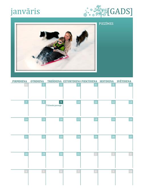 Sezonāls ģimenes kalendārs (jebkurš gads, Pr–Sv)