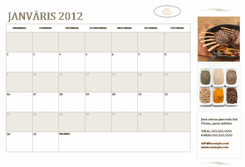 Mazais biznesa kalendārs (jebkurš gads, no pirmdienas līdz svētdienai)