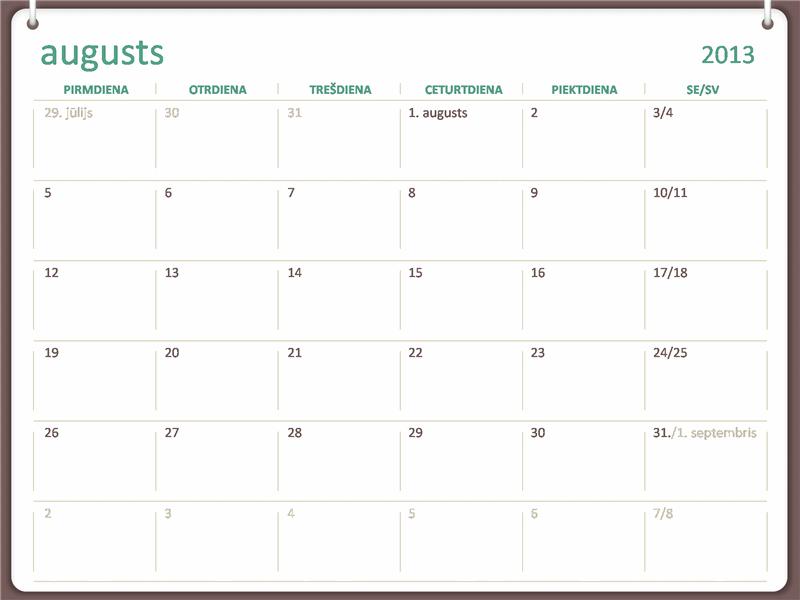 Kalendārs 2013.-2014.akadēmiskajam gadam (augusts)