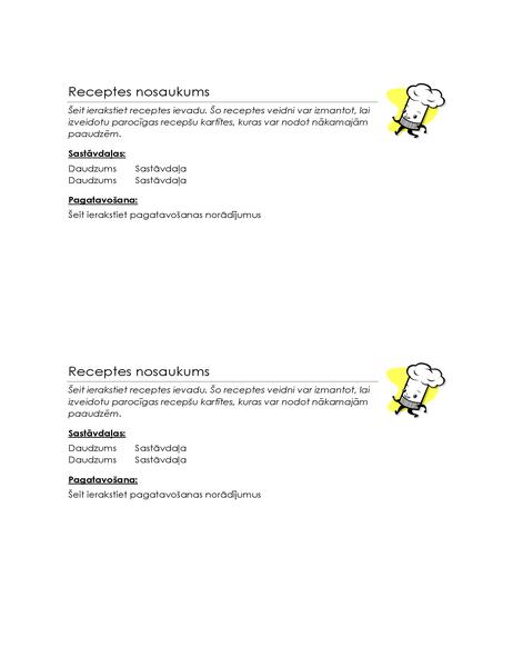 Recepšu kartītes (2 kartītes lapā)