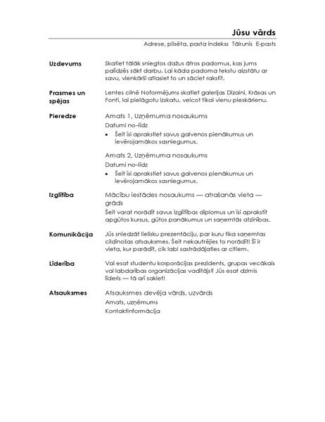 Funkcionāls CV (minimālistisks noformējums)
