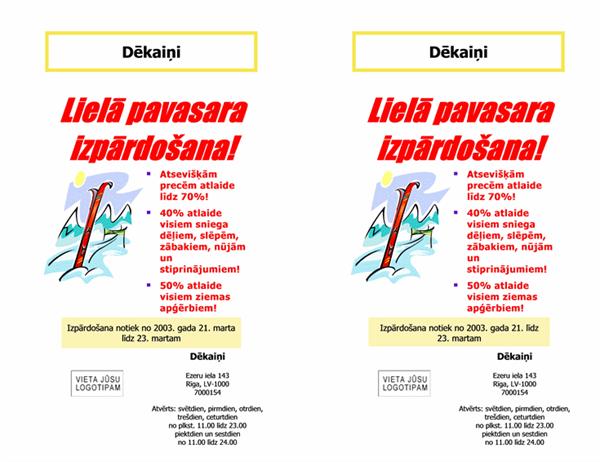 Izpārdošanas reklāmlapa (8,5x11; 2 elementi, 2 augš.)