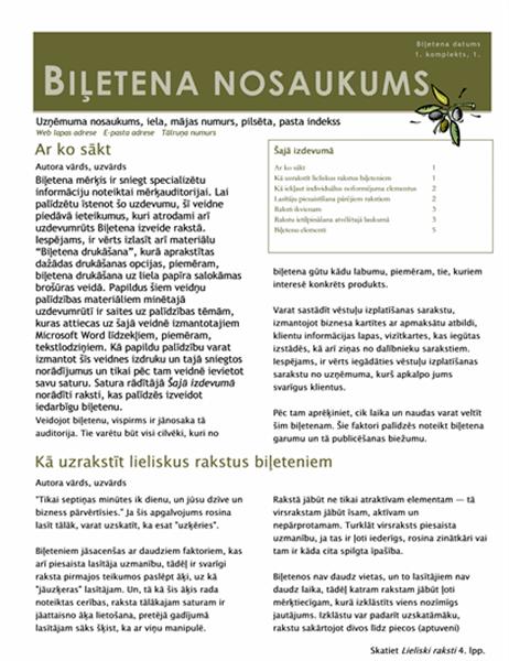 Biznesa biļetens (2 slejas, 6 lpp., reklāmas materiāls, nosūtāms kopā ar vēstuli)