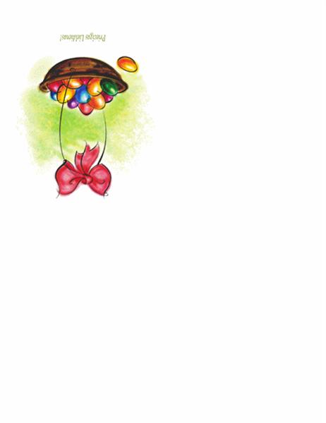 Lieldienu apsveikuma kartiņa (ar olu grozu)