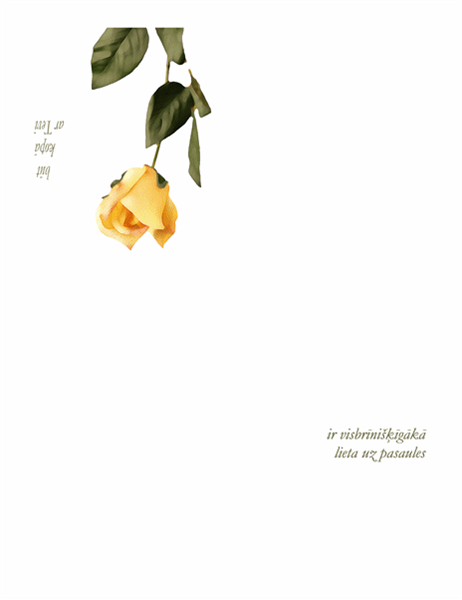 Romantiska kartīte (ar rozi)