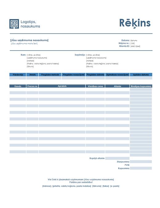 Rēķins par pakalpojumiem (vienkāršs zils noformējums)