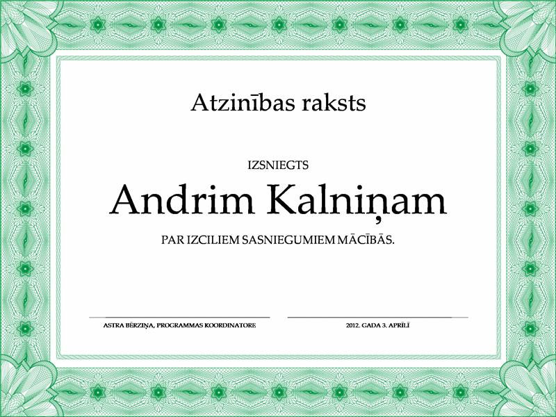 Apliecība par zināšanām (regulāra zaļa apmale)