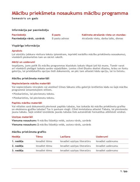 Pasniedzēja mācību priekšmeta programma (krāsa)