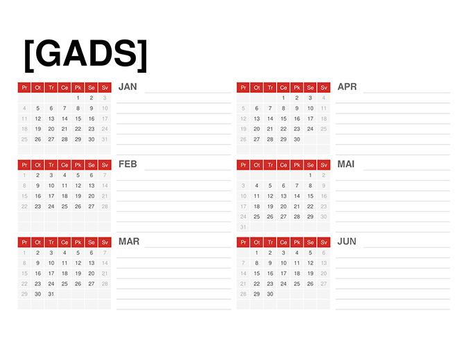Jebkura gada kalendārs