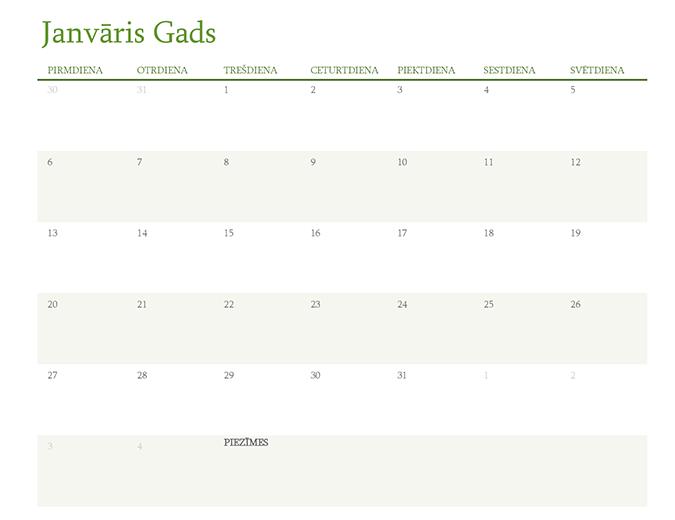 Kalendārs jebkuram gadam (1 mēnesis katrā cilnē)