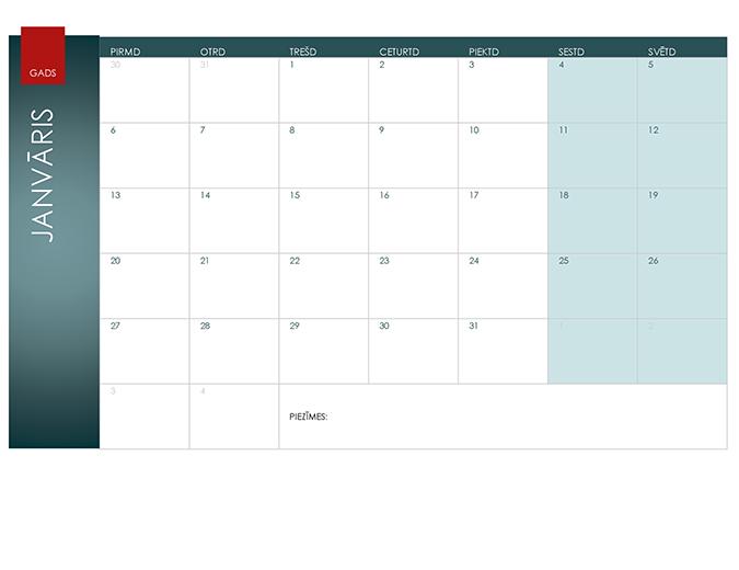 Kalendārs jebkuram gadam (jonu dizains)