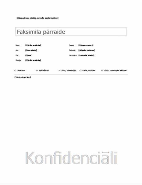Vienkārša faksa titullapa