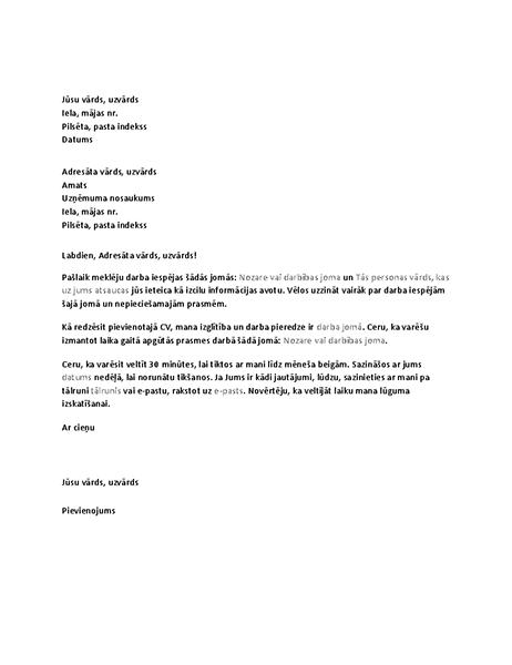 Vēstule, kur tiek pieprasīta informatīva intervija