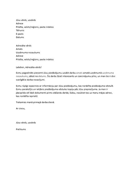 Darba piedāvājuma pieņemšanas vēstule