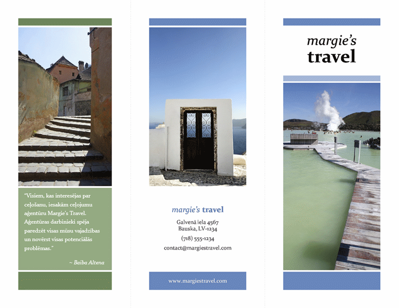 Trīskārša locījuma ceļojuma brošūra (zils un zaļš noformējums)
