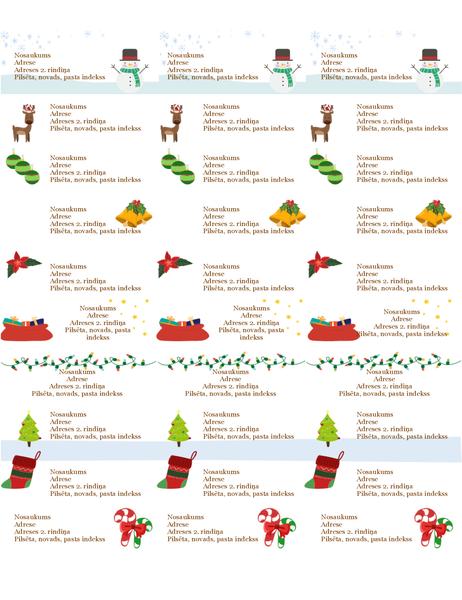Dāvanu atzīmju uzlīmes (Ziemassvētku gara noformējums, 30 vienā lappusē, piemērotas papīram Avery 5160)