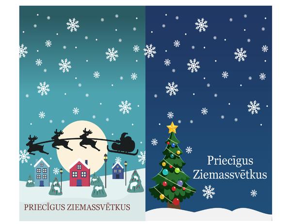 Ziemassvētku piezīmju kartītes (Ziemassvētku noskaņas noformējums, 2kartītes lappusē, Avery 3268 papīram)