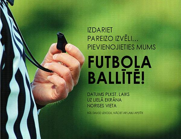 Futbola ballītes skrejlapa