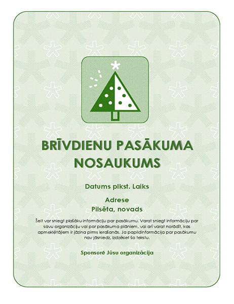 Brīvdienu pasākuma skrejlapa (ar zaļu koku)