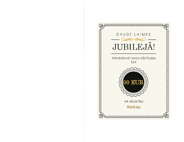 Jubilejas dāvanu karte