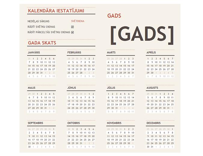 Jebkura gada kalendārs ar svētku dienām