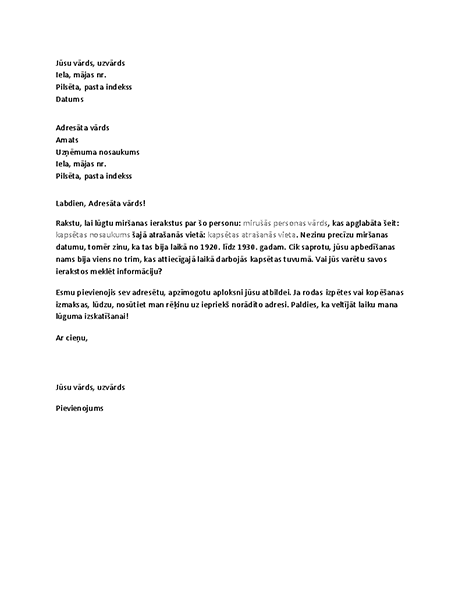 Vēstule ar radurakstu ierakstu pieprasījumu no apbedīšanas nama